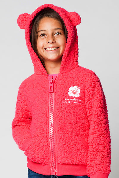 KIDS FULLZIP HOODED FUZZY FLEECE