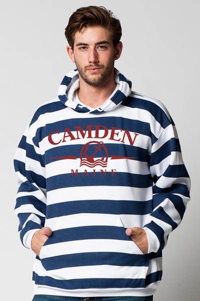 ADULTS STRIPED HOODED PULLOVER SWEATSHIRT