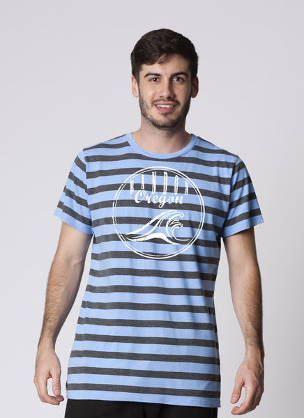 MENS GARMENT-DYED STRIPE CREWNECK SHORT SLEEVE T-SHIRT