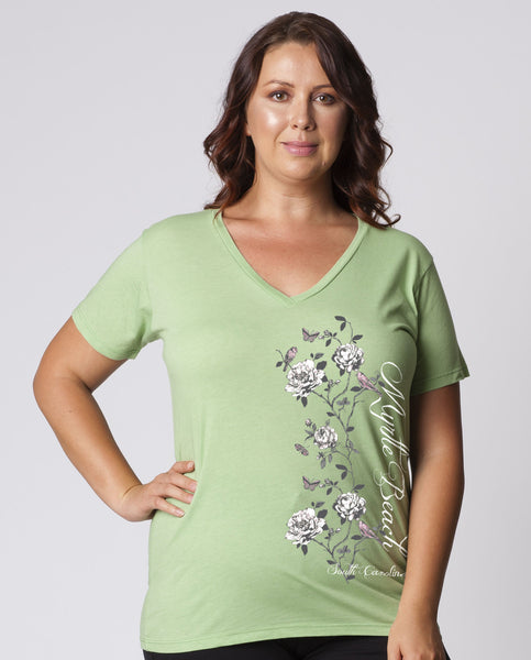 WOMENS GARMENT-DYED HEATHER V-NECK SHORT SLEEVE T-SHIRT