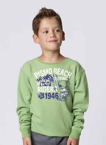 KIDS GARMENT-DYED CREWNECK LONG SLEEVE THERMAL