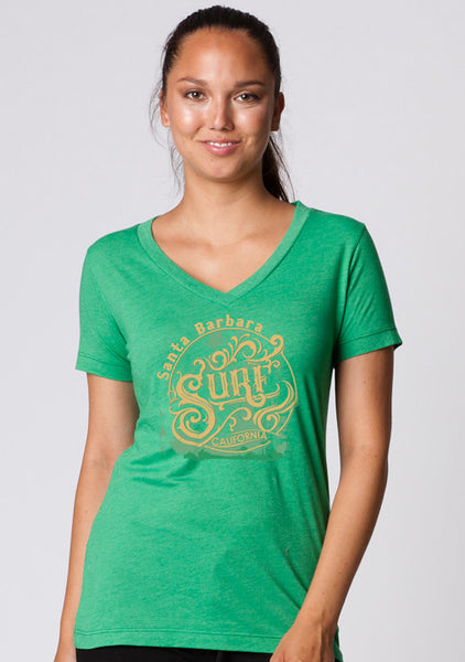 LADIES GARMENT-DYED HEATHER V-NECK SHORT SLEEVE