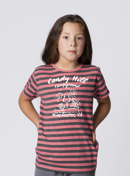 GIRLS GARMENT-DYED STRIPE CREWNECK SHORT SLEEVE T-SHIRT