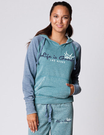 LADIES LIGHTWEIGHT BURNOUT FLEECE RAGLAN HOODED PULLOVER