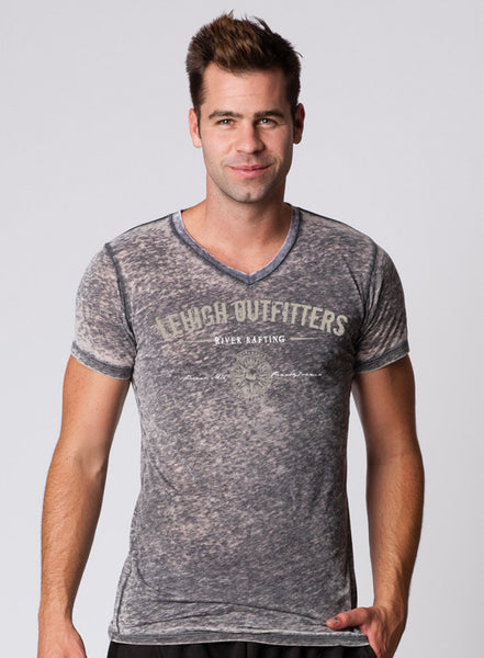 MENS GARMENT-DYED PERFECT V-NECK BURNOUT SHORT SLEEVE T-SHIRT