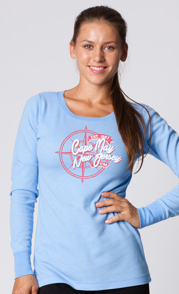 LADIES GARMENT-DYED CREWNECK THERMAL LONG SLEEVE