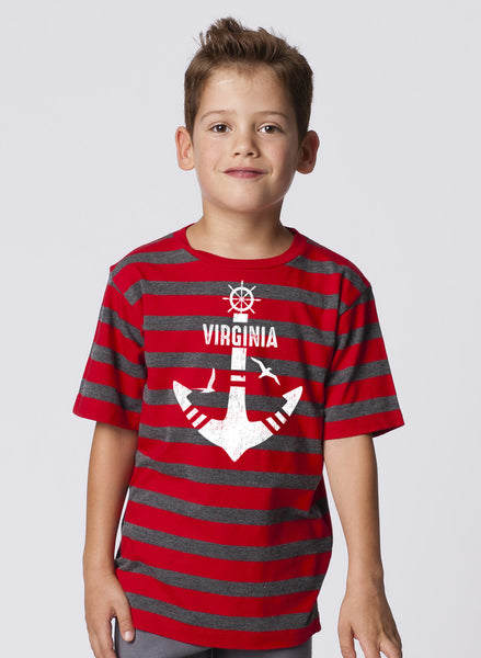 BOYS GARMENT-DYED STRIPE CREWNECK SHORT SLEEVE T-SHIRT