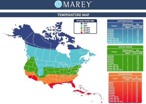 Marey Eco Tankless Water Heater Temp Map