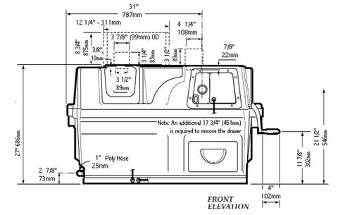 Image of Sun-Mar Centrex 2000 NE Composting Toilet System Dimensions