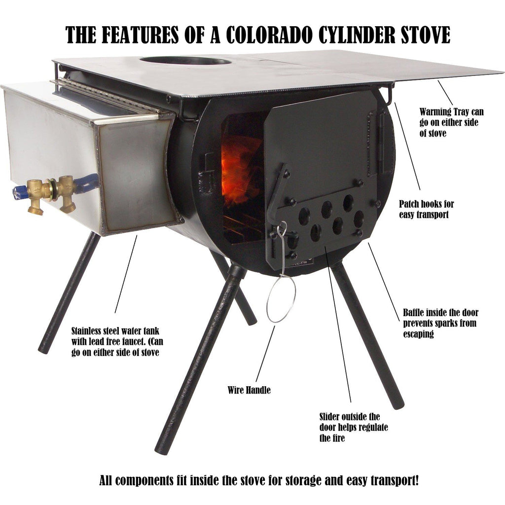 Alpine Cylinder Stove Labeled Photo with Parts