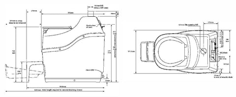 Image of Sun-Mar Excel NE Composting Toilet Dimensions