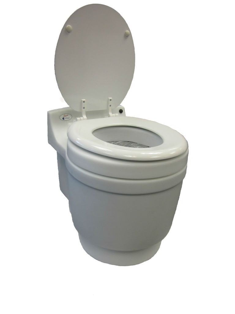 dry flush toilet open side view