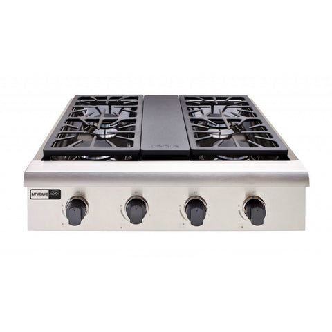 "Image of Unique Elite 30"" 4 Burner Stainless Steel Gas Rangetop"