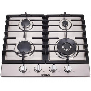 "Unique Stainless Steel 24"" 4 Burner Gas Cooktop"