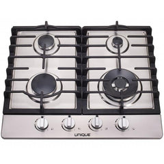 "Image of Unique Stainless Steel 24"" 4 Burner Gas Cooktop"
