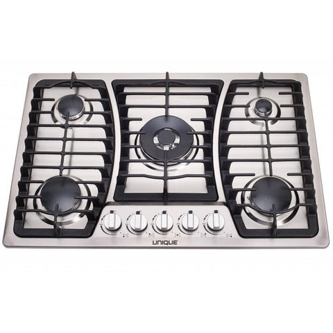 Image of Unique Stainless 30 Inch 5 Burner Gas Cooktop