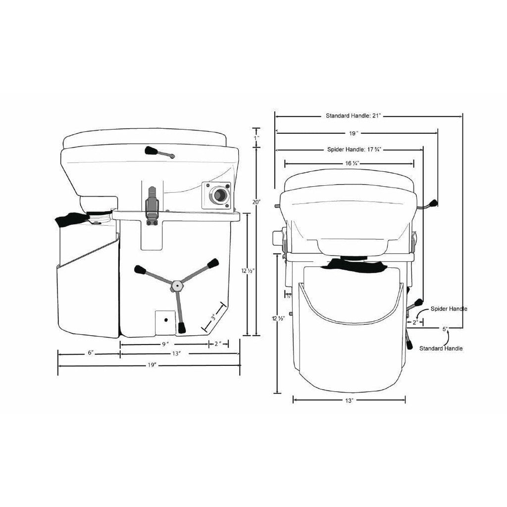 Nature's Head Dry Composting Toilet Dimensions