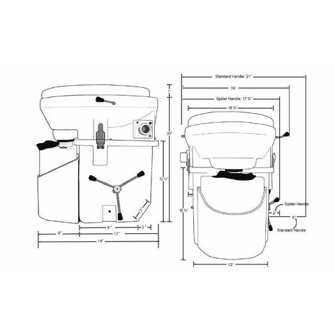 Image of Nature's Head Dry Composting Toilet Dimensions