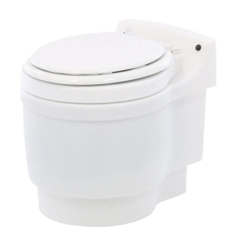dry flush toilet closed side view