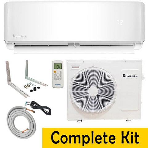 Klimaire 12000 BTU 19 SEER Ductless Mini Split WI-FI Ready Full Kit