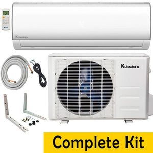 Klimaire 9000 BTU 19 SEER Ductless Mini Split Full Kit