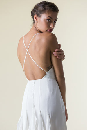 back detail: Fair Trade, Eco, Indie & Ethical handmade wedding dress with	silk open back, sheath skirt, natural waist, straps