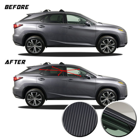 Window Trim Chrome Delete Blackout Precut Vinyl Wrap Overlay Kit Compatible with and Fits Lexus RX350 RX450h 2016-2020