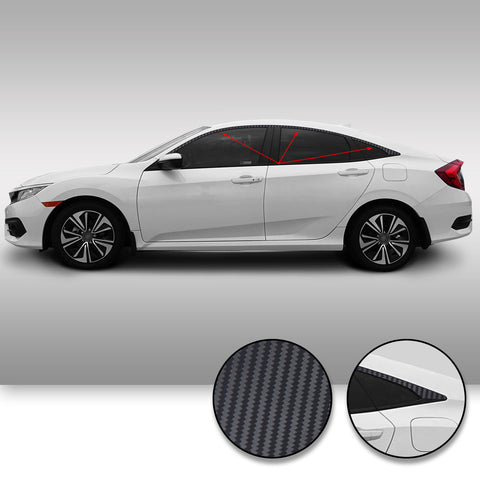 Window Trim Chrome Delete Overlay Vinyl Decal Sticker Kit Compatible with and Fits Honda Civic Sedan 2016 2017 2018 2019 - Black