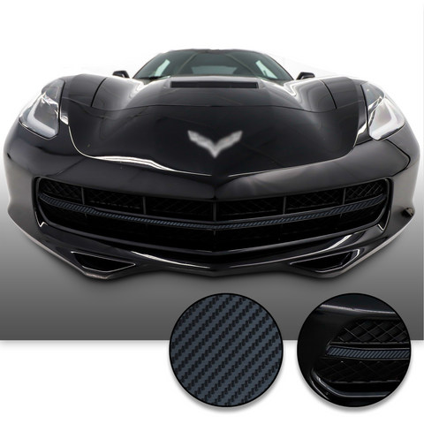 Chrome Delete Grille Overlay Vinyl Wrap Kit Compatible with and Fits Corvette C7 2014-2019