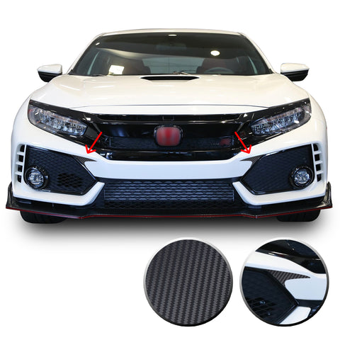 Front Bumper Overlay Fang Decal Compatible With and Fits 2016-2020 Civic Hatchback Si Type R
