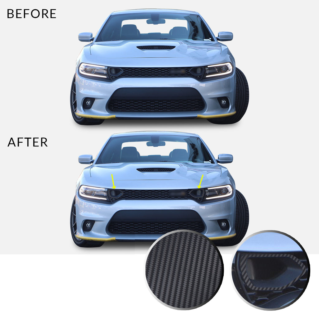 Front Bumper Upper Grille Bezel Overlay Wrap Vinyl Decal Sticker Compatible with and Fits Charger Scat Pack 2019