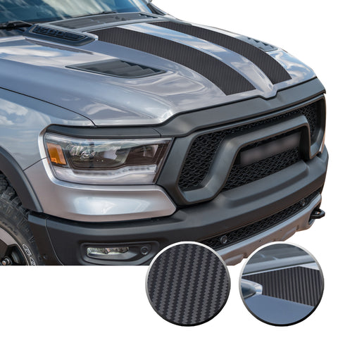 Solid Hood Scoop Decal Accent Overlay Precut Trim Compatible with and Fits Ram 1500 Rebel Crew Cab Quad Cab 2020