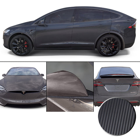 Full Chrome Delete Window Mirrors Font Rear Trim Blackout Precut Vinyl Wrap Overlay Kit Compatible with Tesla Model X 2016-2020