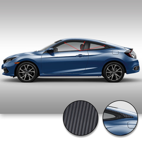Window Trim Chrome Delete Overlay Vinyl Decal Sticker Kit Compatible with and Fits Honda Civic Coupe 2016 2017 2018 2019 - Black
