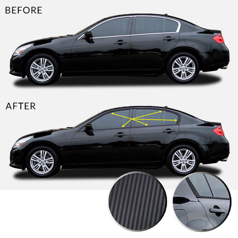 Window Trim Chrome Delete Vinyl Decal Compatible with and Fits Infiniti G35 G37 Q40 Sedan 2007-2015 - Black