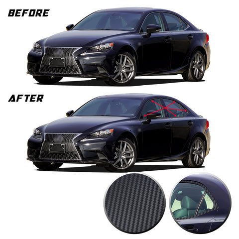 Window Trim Chrome Delete Blackout Precut Vinyl Wrap Overlay Kit Compatible with and Fits Lexus IS350 IS200t 2014-2020
