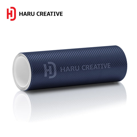 Blue 3D Carbon Fiber Vinyl Wrap - Adhesive Decal Film Sheet Roll - Haru Creative 3D Carbon Fiber