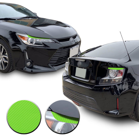 Headlight & Tail Light Eyelid Eyebrow Overlay Vinyl Decal Compatible with Scion tC 2014-2016