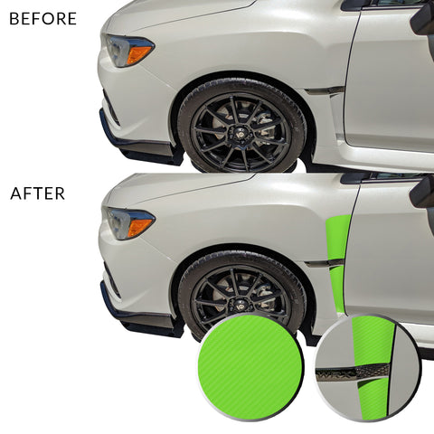 Front Fender Upper Lower Trim Vinyl Decal Overlay Wrap Inserts Sticker Compatible with and Fits WRX STi 2015-2019
