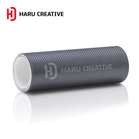 Gunmetal (Dark Grey) 3D Carbon Fiber Vinyl Wrap - Adhesive Decal Film Sheet Roll - Haru Creative 3D Carbon Fiber
