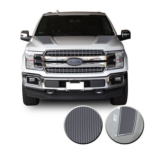 Front Outlined Hood Stripes Vinyl Graphic Decal Overlay Wrap Compatible with and Fits F-150 2015-2020
