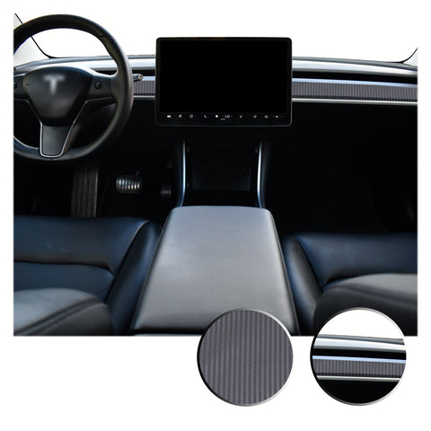 Dashboard Overlay Decal Trim Kit Compatible with and Fits Tesla Model 3 2017-2020