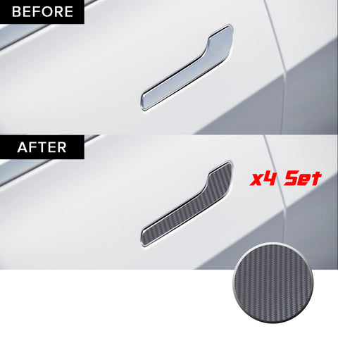 Door Handle Chrome Delete Precut Vinyl Wrap Overlay Kit Compatible with and Fits Tesla Model 3 2017-2020
