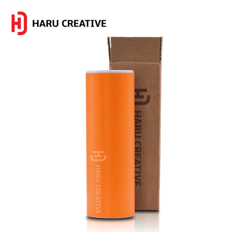 Orange 3D Carbon Fiber Vinyl Wrap - Adhesive Decal Film Sheet Roll - Haru Creative 3D Carbon Fiber
