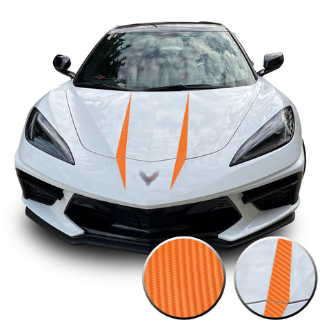Hood Spears Graphic Overlay Vinyl Decal Compatible with Chevrolet Corvette C8 2020-2021