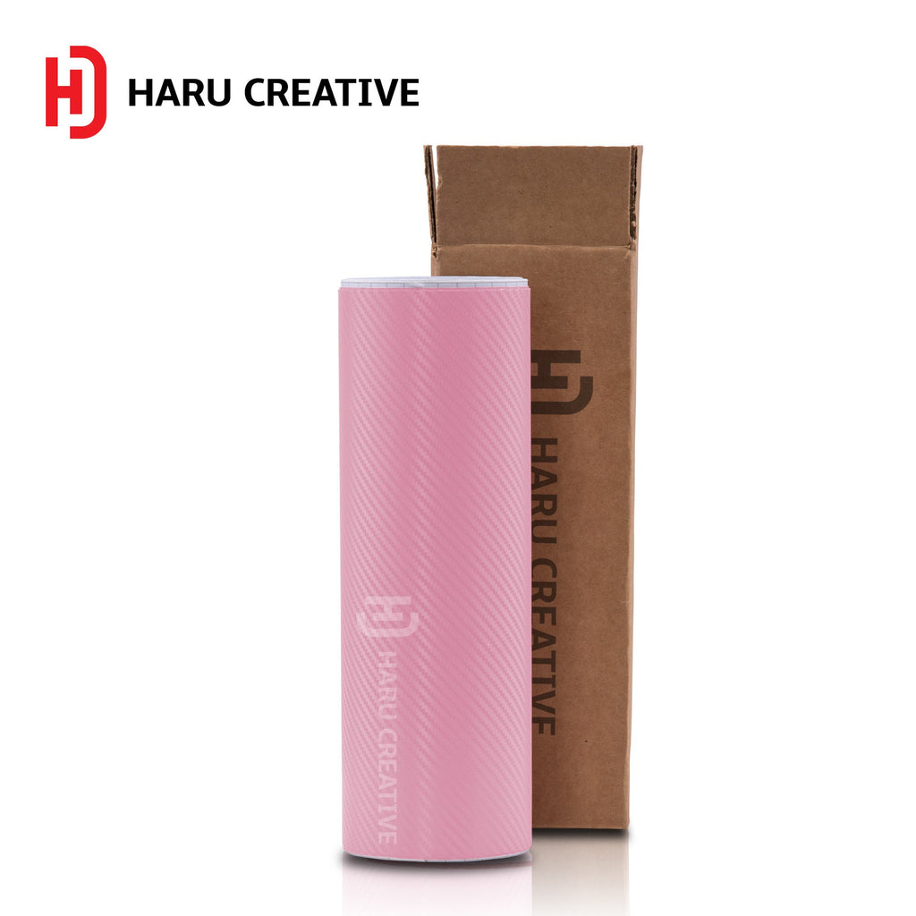 Pink 3D Carbon Fiber Vinyl Wrap - Adhesive Decal Film Sheet Roll - Haru Creative 3D Carbon Fiber