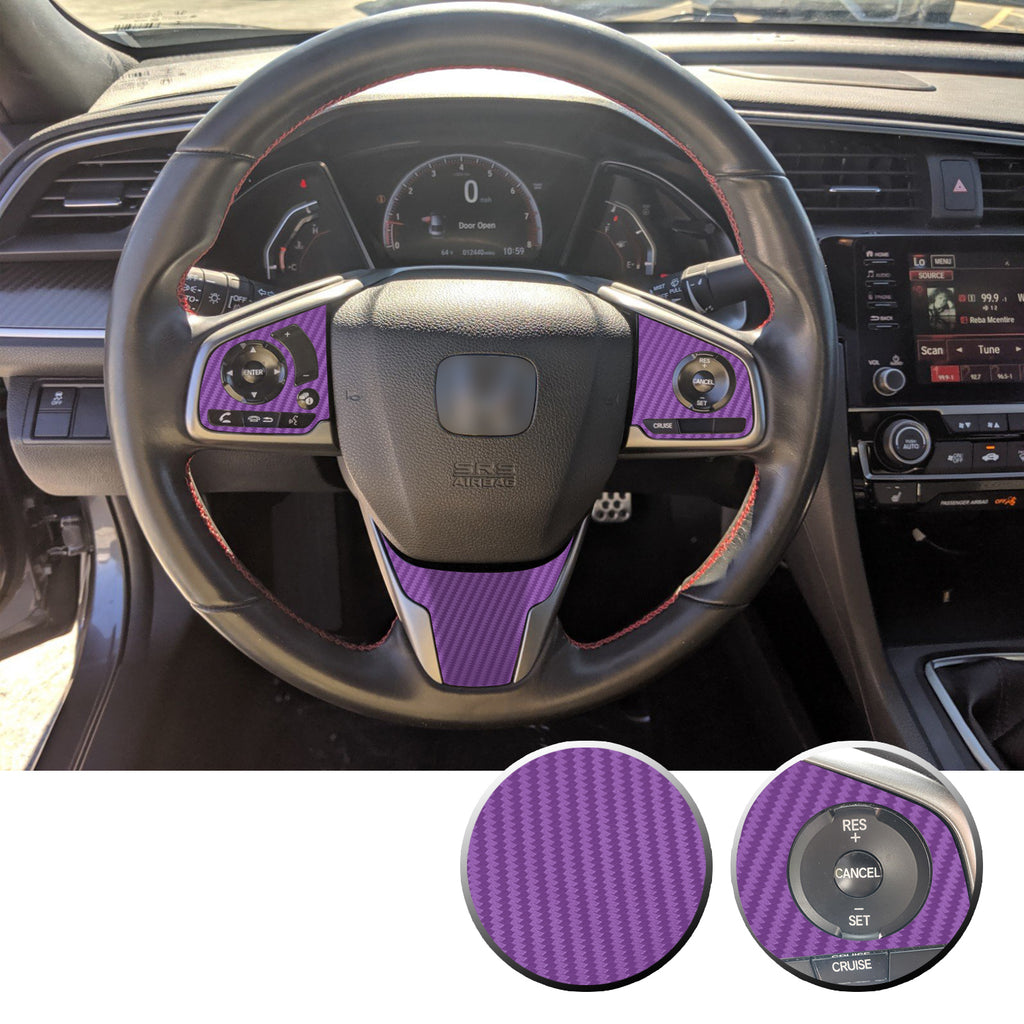 Steering Wheel Complete Set Trim Decals Compatible With and Fits Honda Civic 2016-2020