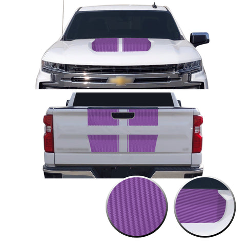 Hood & Tailgate Rally Style Stripes Vinyl Decal Compatible with Chevrolet Silverado 1500 2019-2021