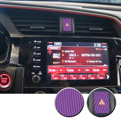 Hazard Switch Button Trim Overlay Decal Compatible With and Fits 2016-2020 Honda Civic