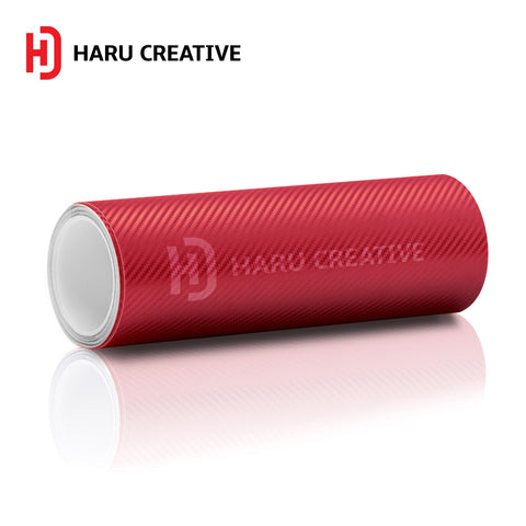 Red 3D Carbon Fiber Vinyl Wrap - Adhesive Decal Film Sheet Roll - Haru Creative 3D Carbon Fiber